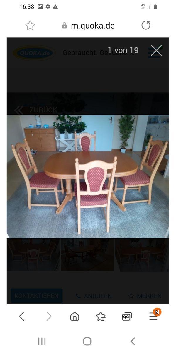 Esstisch mit vier Stühlen massiv