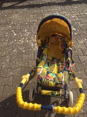 Puppenwagen blau-gelb mit Hunden