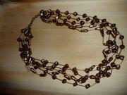braune mehrreihige Halskette Original alt -