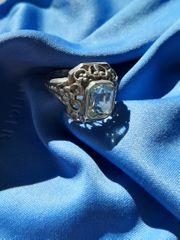 Jugendstil - Blau Topas Ring