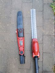 Elektrische Kettensäge und Heckenschere