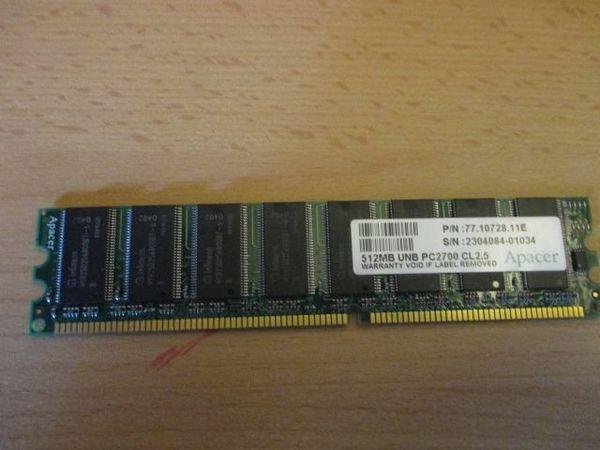 512 MB Arbeitsspeicher PC 2700