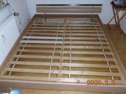 Bett ahornfarbig mit Chrom Liegefläche