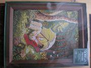 Stickbild mit Holzrahmen Gobelin