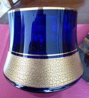 Bowle Kobalt blau Bleikristall Ätzgoldmanschette