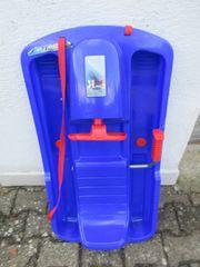 Plastikschlitten Rennbob blau mit Lenkrad