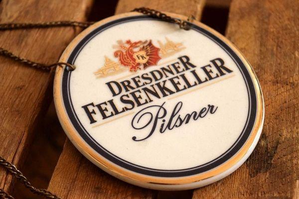 Zapfhahnschild Dresdner Felsenkeller Keramik Alt