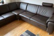 Ecksofa Echtleder Couch L-Form