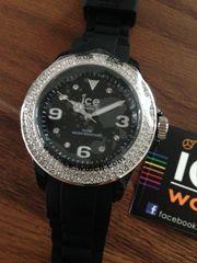 Ice-Watch Armbanduhr Silber schwarz Swarovski