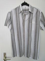 Herren - Sommerhemd weiß mit grauen