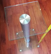 Glas-Tischchen -Säule 49cm hoch Aluminium