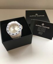 Alpha Saphir Uhr weiß und