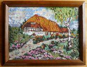 Gobelin-Stickbild Bauernhaus in der Heidelandschaft