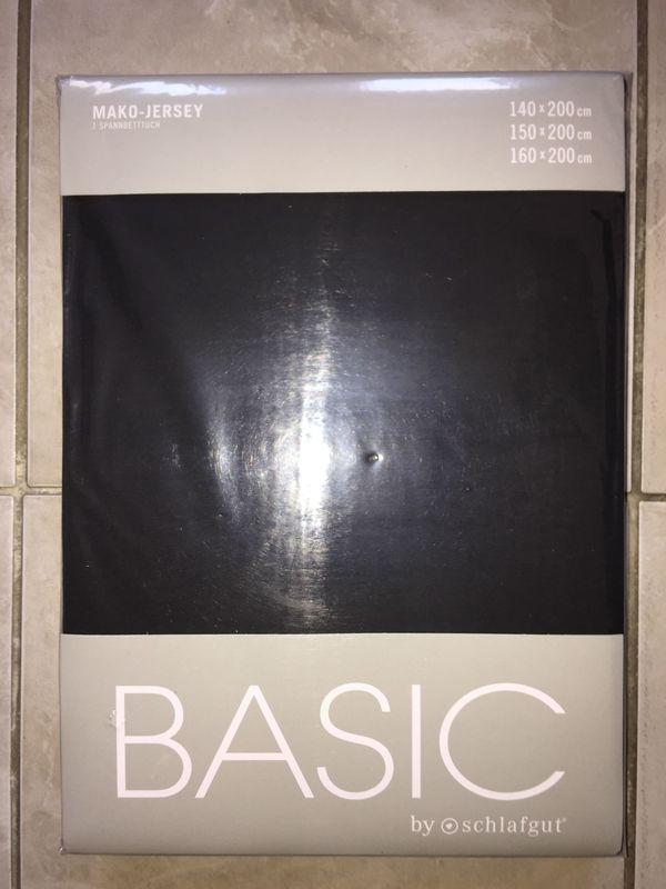 schwarzes mako-jersey schlafgut basic Spannbetttuch