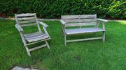Gartenbank und Stuhl