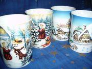 4 Kaffeebecher Tassen mit winterlichen