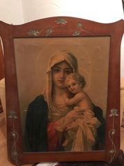 Holzbilderrahmen mit Madonna und Kind