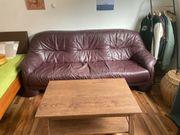 Leder Sofa mit Couch Tisch