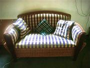 Sofa 2 Sitzer Seitentaschen Bast