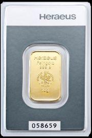 10 Gramm Heraeus Goldbarren mit
