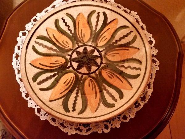 Unbeschädigter DDR-Keramikteller handbemalt Erzgebirge