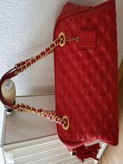 Handtasche rot Leder Marke POON