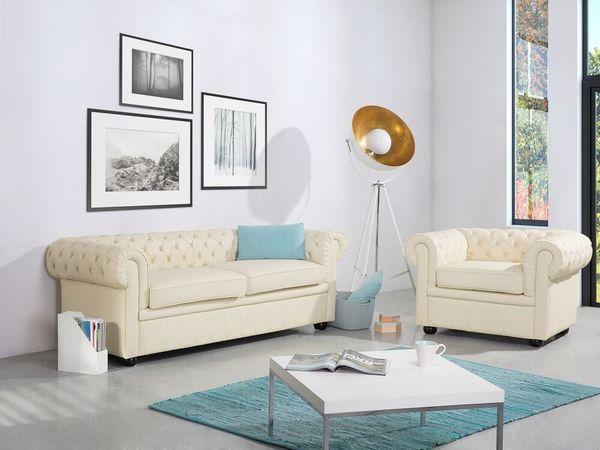 Sofa Leder creme CHESTERFIELD neu -