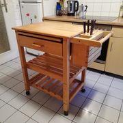 Küchenwagen Buche massiv mit Messerblock