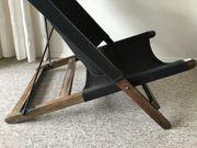 Vintage Sessel Liegestuhl Holz schwarz