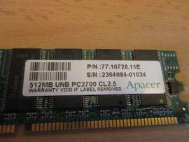 Mainboards, CPUs, Speicher - 512 MB Arbeitsspeicher PC 2700