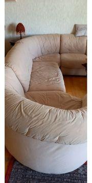 Sofa Couch Alcantara beige groß