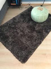 Teppich Wohnzimmerteppich braun Hochflor
