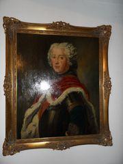 Ölgemälde Kronprinz Friedrich mit Goldrahmen