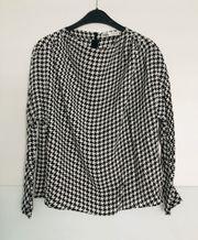 Elegante Bluse Hahnentritt schwarz weiß