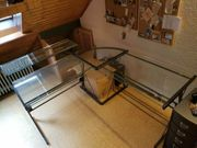 Designer Schreibtisch Glas Stahl