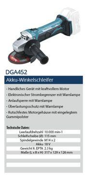 Makita 18V Akku Winkelschleifer DGA452
