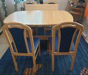 Ausziehbarer Esstisch mit 4 blau