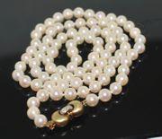 Akoya Perlenkette mit Diamantverschluß 585er