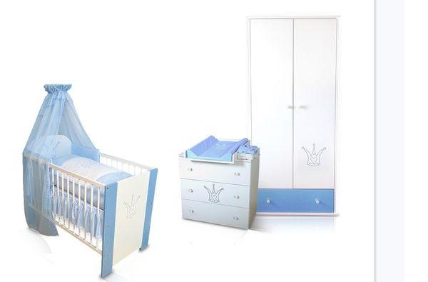 Krone Blau Babybett Wickelkommode Kleiderschrank