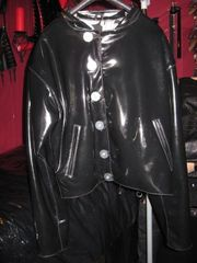 Unikat Designer Latex Jacke schwarz