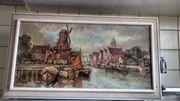 Malerei Alte Hafenansicht Hafenblick Mahler
