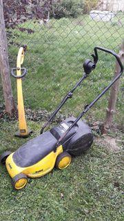 Elektro-Rasenmäher und Einhell Rasentrimmer -- Voll