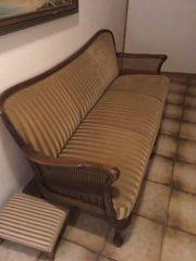 50er Jahre Rattangeflecht Sofa und