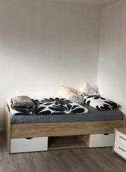 Kompletteinrichtung Bett Kleiderschrank Schreibtisch Rollschrank