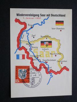 Briefmarken: Saarland 1957 Postkarte Wiedervereinigung Saar mit Deutschland