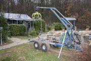 Rückewagen Kran Holztransportanhänger