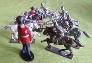 7x Zinnfiguren Reiter u Figur