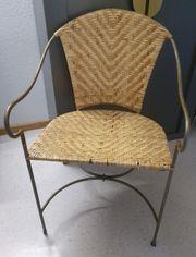 Antiker Eisen Rattan Stuhl Sessel