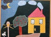 Stoffbild handgenäht Haus mit Garten -