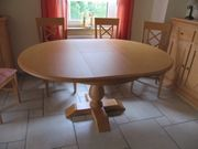 Runder ovaler Esstisch massiv Holz
